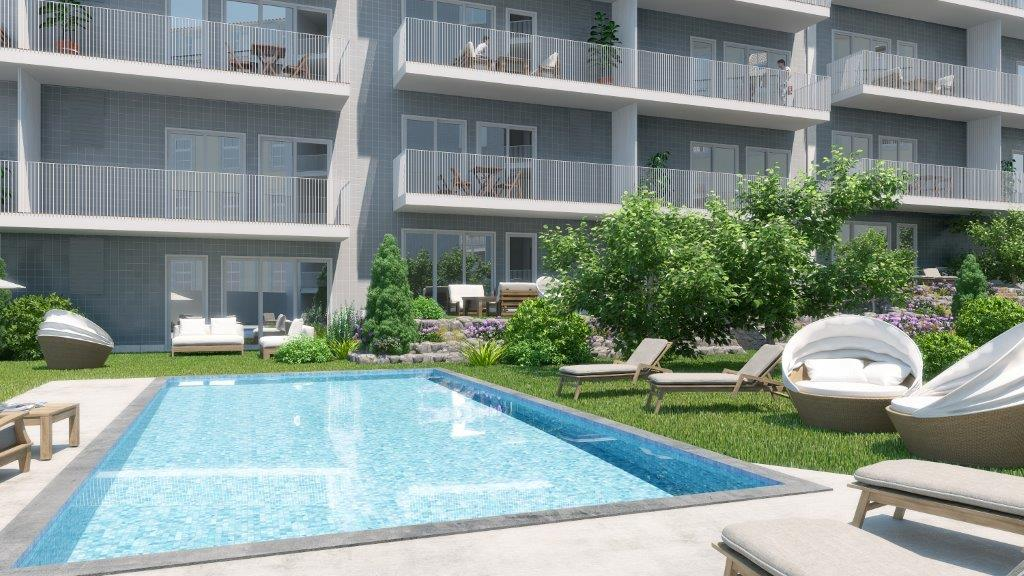 1 bedroom apartment with a swimming pool in gated community